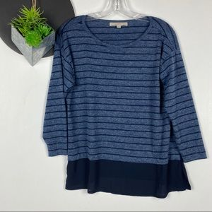 Loft Sheer Back Layered Stripe Long Sleeve Tee SP